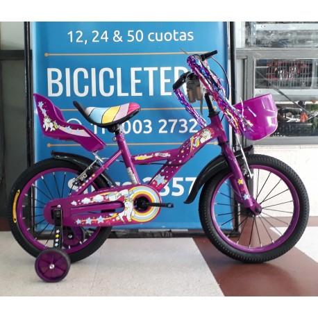 Bicicleta Nena Rodado 16 Jordan Unicornio