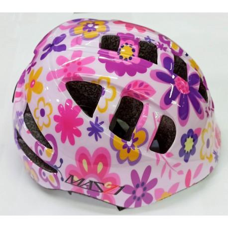 Casco para nenas rosa flores Mazzi