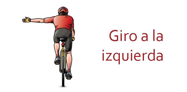 Girar a la izquierda bicicleta señales